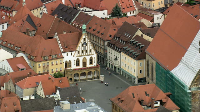 amberg market square and clock tower  - aerial view - bavaria,  upper palatinate,  kreisfreie stadt amberg helicopter filming,  aerial video,  cineflex,  establishing shot,  germany - upper palatinate stock videos & royalty-free footage