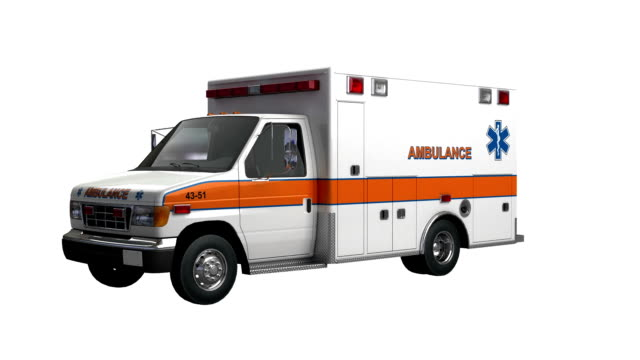 Ambulance America car spin isolated with luma matte
