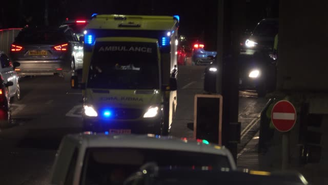 A ambulance approaches the Bristol Royal Infirmary on February 1 2017 in Bristol England The NHS has been experiencing high levels of demand this...