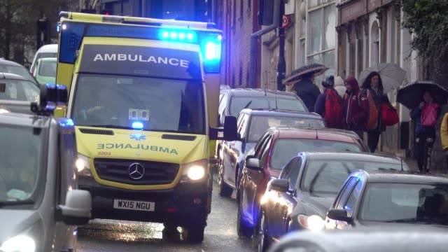 A ambulance approaches the Bristol Royal Infirmary on February 1 2018 in Bristol England The NHS has been experiencing high levels of demand this...