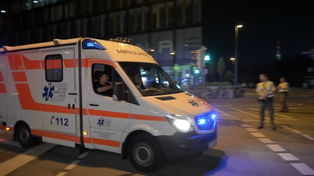 Ambulance in front of shopping mall on July 22 2016 in Munich Germany