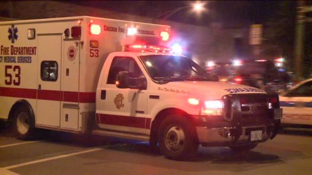 WGN Ambulance On Crime Scene At Night on July 20 2012 in Chicago ILLINOIS