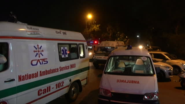 ambulances queue up outside hospital in delhi as hospitals are full and running out of oxygen as coronavirus pandemic worsens - crisis stock videos & royalty-free footage