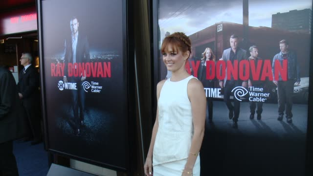 """ambyr childers at showtime and time warner cable celebrate season two of """"ray donovan"""" in los angeles, ca 7/9/14 - showtime video stock e b–roll"""