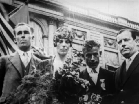 amelia earhart her pilot her mechanic standing with mayor joseph mckee / nyc / newsreel - 1928 stock videos & royalty-free footage