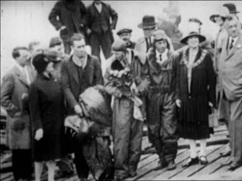 amelia earhart posing with her pilot mechanic mayor welch of southampton england - 1928 stock videos & royalty-free footage