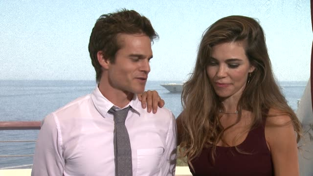 interview amelia heinle greg rikaart on yr's emmy nominations at 54th montecarlo television festival day 3 on june 09 2014 in montecarlo monaco - ソープオペラ点の映像素材/bロール