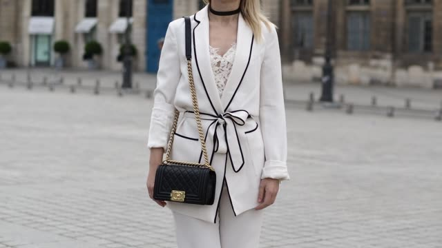 amelie lloyd is wearing a zara full outfit dior sunglasses a chanel bag and minelli shoes before the sean suen show during paris fashion week... - amelie lloyd stock videos and b-roll footage