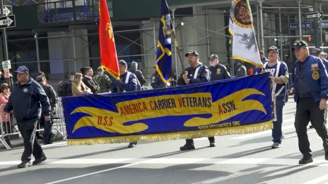 america carrier veteran's assoc. inc. the 100th new york city veterans day parade, which is an annual event produced by the united war veterans... - parade stock videos & royalty-free footage