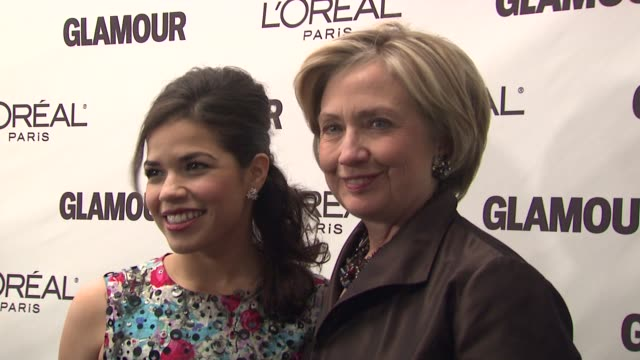 america ferrera and hillary clinton at the glamour magazine honors the 2008 women of the year at new york ny. - america ferrera stock videos & royalty-free footage