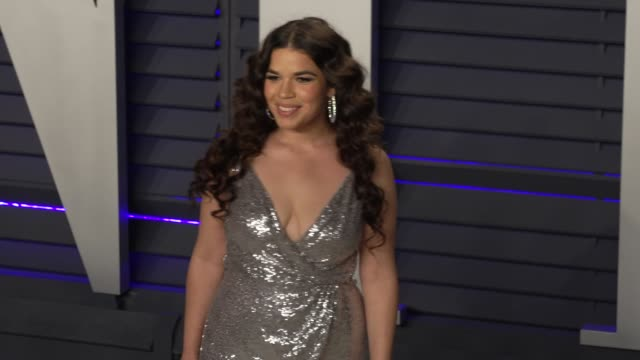 america ferrera and ryan piers williams at 2019 vanity fair oscar party hosted by radhika jones at wallis annenberg center for the performing arts on... - america ferrera stock videos & royalty-free footage