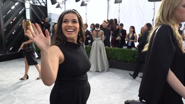 america ferrera at the 26th annual screen actorsguild awards - red carpet roaming at the shrine auditorium on january 19, 2020 in los angeles,... - america ferrera stock videos & royalty-free footage
