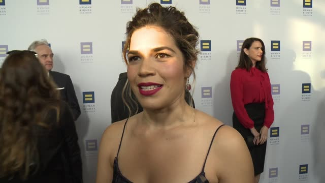 america ferrera on the event and being honored at the human rights campaign 2017 los angeles gala dinner in los angeles, ca 3/18/17 - america ferrera stock videos & royalty-free footage