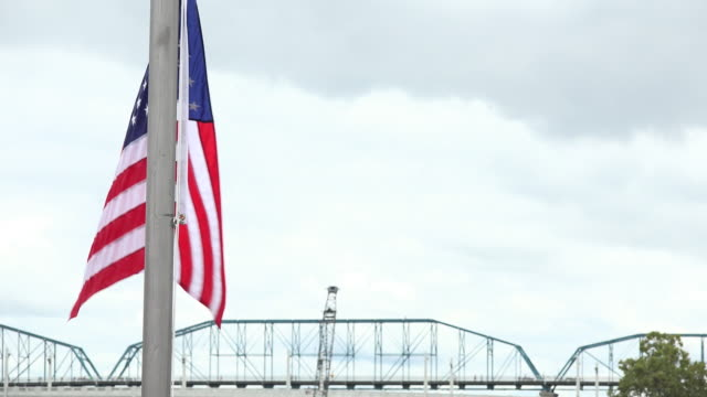 america national flag and bridge - chattanooga stock videos and b-roll footage