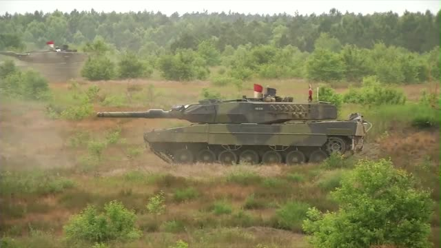 american abrams tanks and danish leopard tanks participate in live fire exercise during saber strike - tank stock videos & royalty-free footage