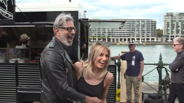 American Actor Jeff Goldblum and Erin Holland at Circular Quay on April 26 2017 in Sydney Australia Jeff Goldblum was in town to do 'research' for an...