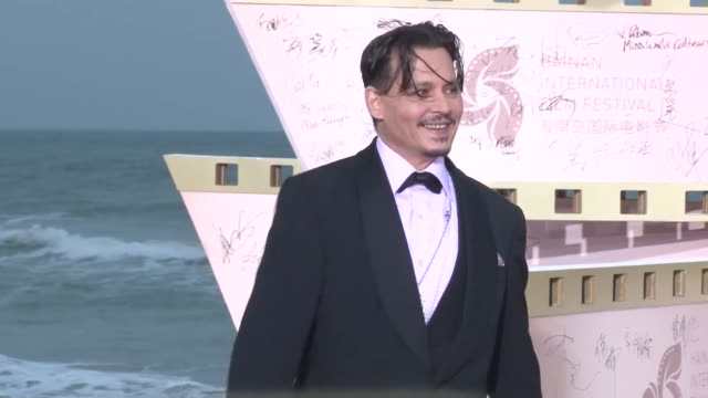 American actor Johnny Depp attends the closing ceremony of 1st Hainan International Film Festival on December 16 2018 in Sanya Hainan Province of...