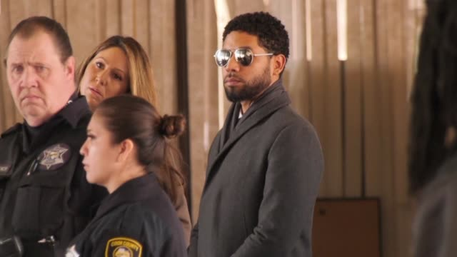 American actor Jussie Smollett arriving at court for a procedural hearing