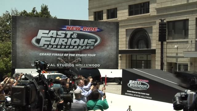 american actor vin diesel helps launch a fast and furious ride at universal studios in hollywood - vin diesel stock videos and b-roll footage