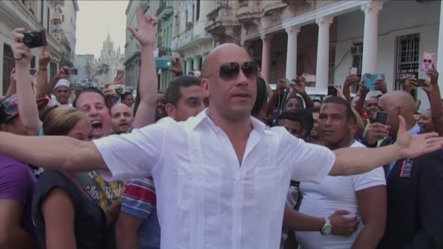 american actor vin diesel is welcomed by cubans in havana as he takes a break from filming the eighth of the fast and furious film franchise - vin diesel stock videos and b-roll footage