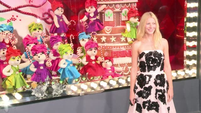 american actress gwyneth paltrow inaugurated today the christmas shopwindow decorations of the printemps department store in paris clean gwyneth... - gwyneth paltrow stock videos and b-roll footage