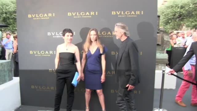 american actress hilary swank, french actress juliette binoche and english actor jeremy irons at the photocall of the bulgari opening party in saint... - juliette binoche stock videos & royalty-free footage