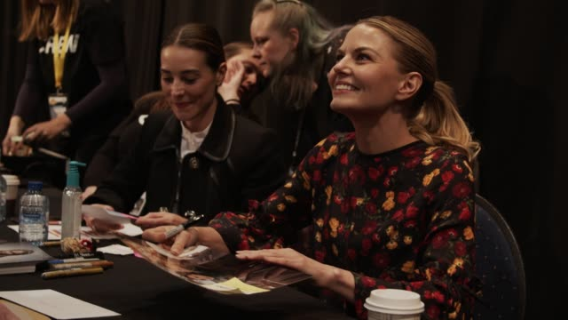 american actress jennifer morrison signs for fans at heroes dutch comic con in utrecht the netherlands - utrecht stock videos & royalty-free footage