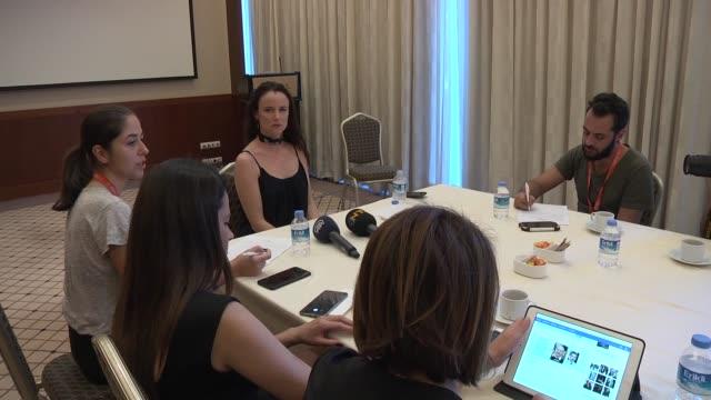 American actress Juliette Lewis speaks to media members during the 54th International Antalya Film Festival in Antalya Turkey on October 22 2017