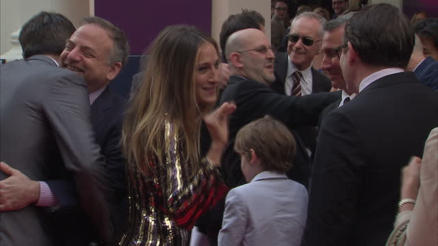 American actress Sarah Jessica Parker talking on the red carpet for the premiere of new musical Charlie The Chocolate Factory at the Theatre Royal...