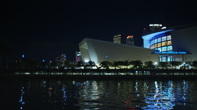 american airlines arena at night - miami dade county stock videos & royalty-free footage