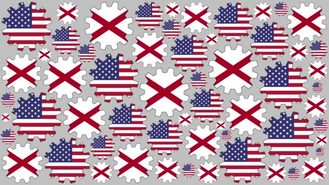 american and alabama flag gears spinning background - alabama us state stock videos & royalty-free footage
