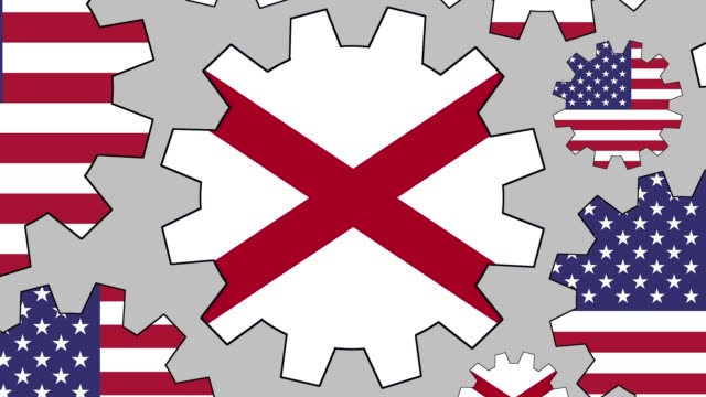 american and alabama flag gears spinning background zooming out - alabama us state stock videos & royalty-free footage