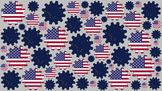 american and alaskan flag gears spinning background - alaska us state stock videos & royalty-free footage