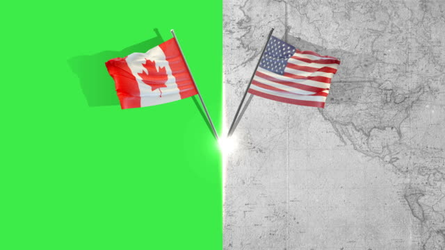 american and canadian flag flags - american culture stock videos & royalty-free footage
