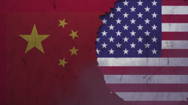 american and china flags on the stone wall stock video - national landmark stock videos & royalty-free footage