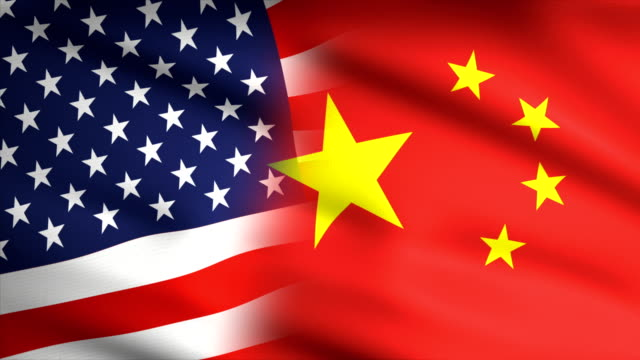 american and chinese flag waving together - national landmark stock videos & royalty-free footage