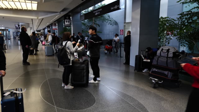american and delta airlines halt china flights due to coronavirus, the u.s. is funneling flights from china to the u.s. to seven airports to help... - san francisco international airport stock videos & royalty-free footage