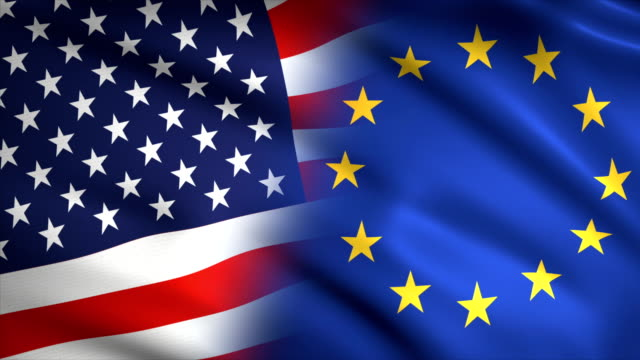 american and european flag waving together - politics abstract stock videos & royalty-free footage