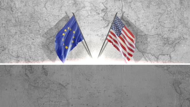american and european union flag - european union stock videos & royalty-free footage