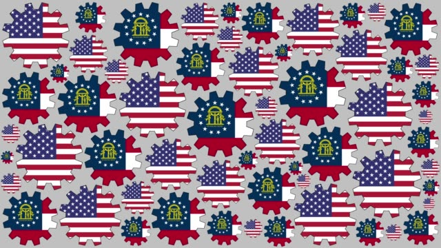 american and georgian flag gears spinning background - georgia us state stock videos & royalty-free footage