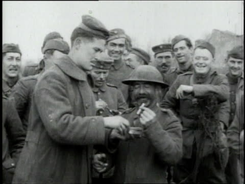 american and german kidding around, exchanging cigarettes / dampvitoux, meurthe-et-moselle, france - 1918 stock videos & royalty-free footage