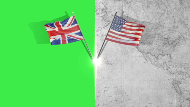 american and great britain flags - bandiera del regno unito video stock e b–roll