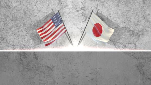 アメリカと日本の旗 - アメリカ点の映像素材/bロール