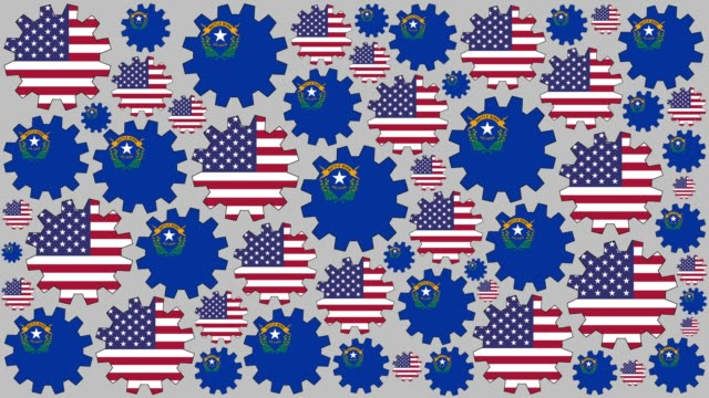 american and nevada flag gears spinning background - western script stock videos & royalty-free footage