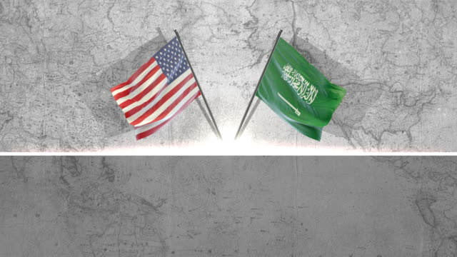 american and saudi arabian flags - stars and stripes stock videos & royalty-free footage