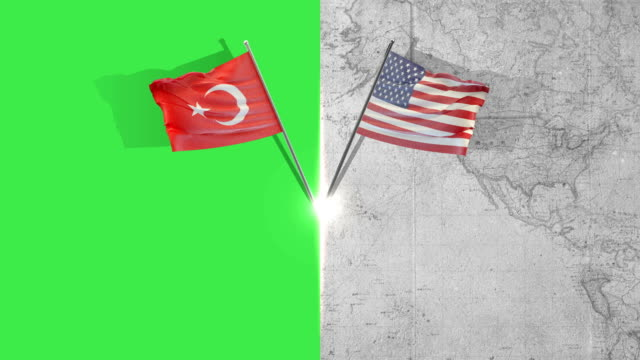 american and turkish flag flags - turkey stock videos and b-roll footage