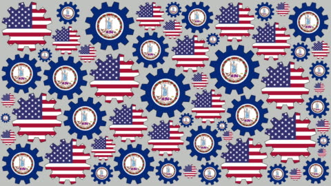 american and virginia flag gears spinning background - virginia us state stock videos & royalty-free footage