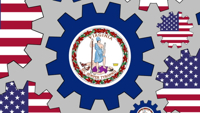 american and virginia flag gears spinning background zooming out - virginia us state stock videos & royalty-free footage