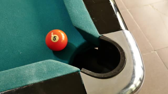 vidéos et rushes de billard américain, homme jouant billard, snooker. joueur prépare à tirer, frapper la boule blanche et elle a frappé jaune boule. n ° 1 de balle dans le trou. balle traverse le trou. - viser