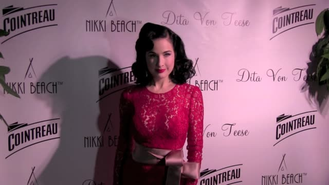 american burlesque artist dita von teese posing at nikki beach club in cannes she is talking about the burlesque saying marlene dietrich was her main... - burlesque stock videos & royalty-free footage